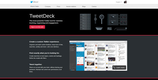 Tweet deck social media management tool